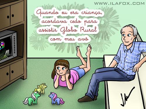 Eu acordava cedo para assistir Globo Rural com meu avô, ilustração by ila fox