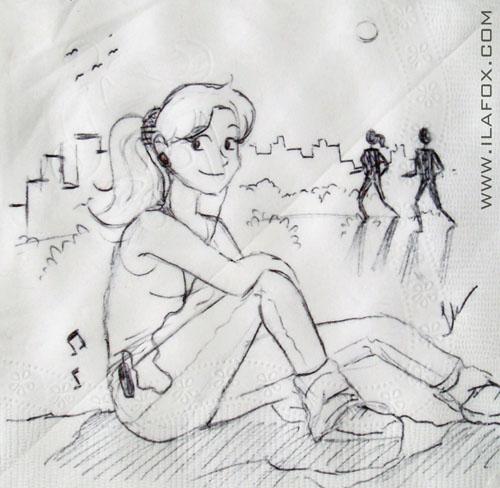 Desenho guardanapo mulher sentada esportista by ila fox