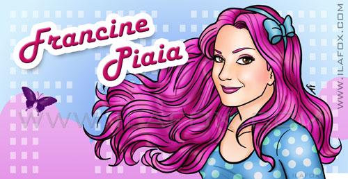 Desenho, header, cabeçalho, retrato, Francine Piaia, BBB9, Big Brother Brasil, cabelo rosa, by ila fox