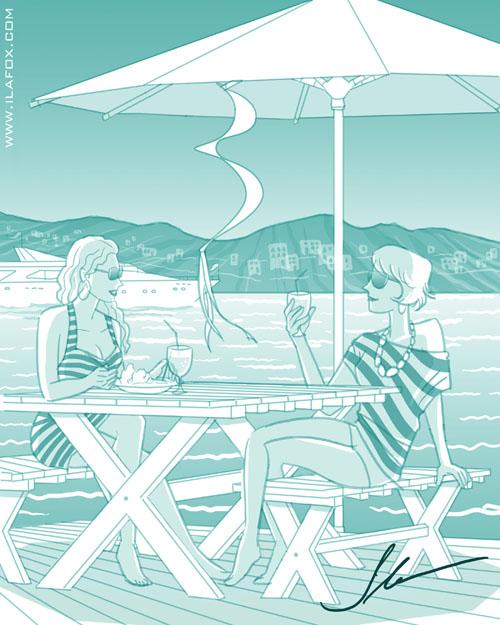 Luxo, poder e glamour, Ibiza, duas mulheres conversando, amigas, ilustração by Ila Fox