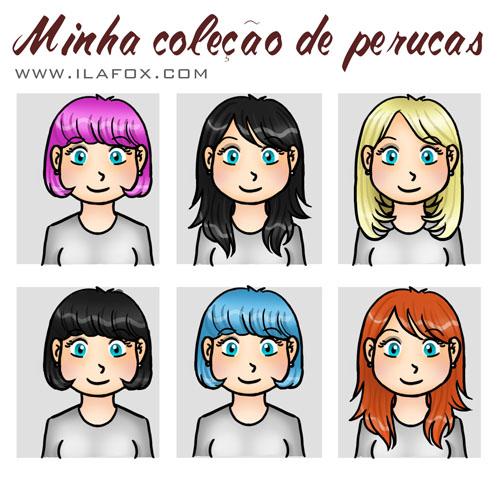Ila Fox, perucas, peruca pink, peruca ruiva, peruca morena pinup, peruca loira, ilustração by ilafox