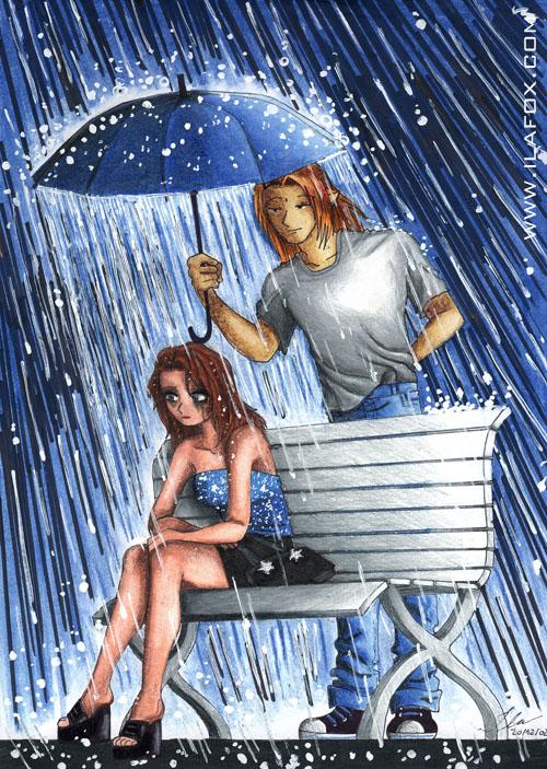 Ila e Fox, na chuva, desenho feito à lápis em 2002 by ila fox