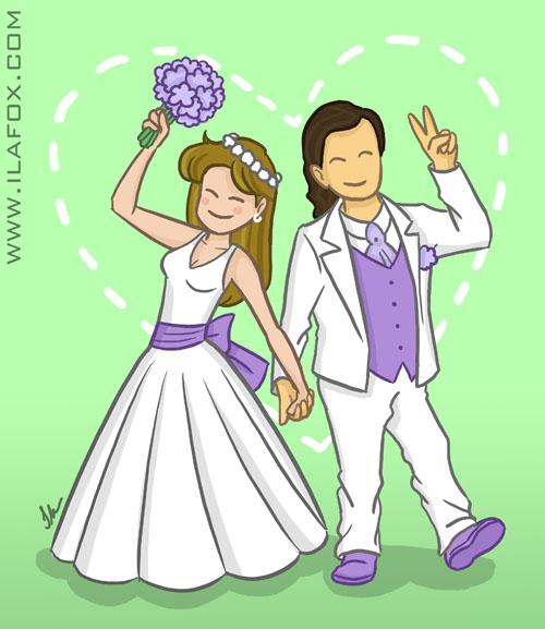 Ila Fox e Ricbit, dois anos de casados, noivinhos desenhados, Ila Fox