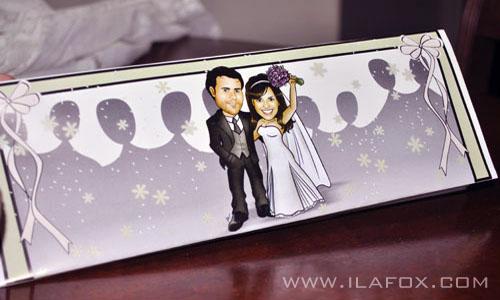 Caricatura, casal, convite, noivos, corpo inteiro, colorido, noivinhos Jana e Lucas, by ila fox