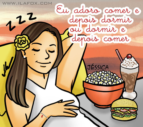 Eu adoro comer e dormir, dormir e comer, Jéssica, ilustração by ila fox