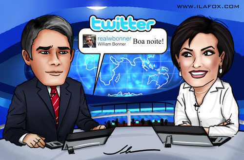 caricatura famosos William Bonner @realwbonner e Fátima Bernardes do Jornal Nacional por ila fox