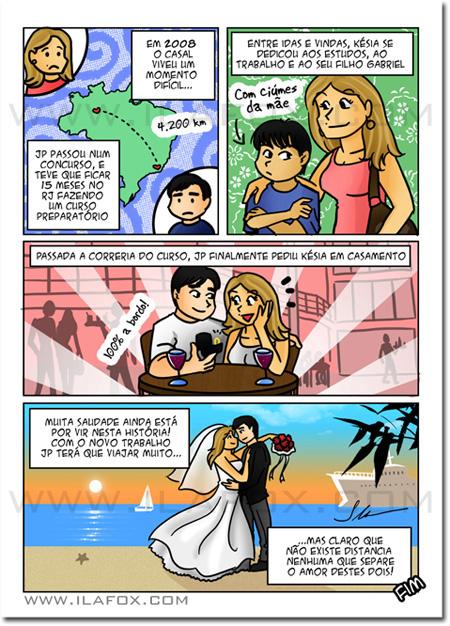 convite em história em quadrinhos personalizados para casamento, história noivinhos, Manaus e Rio de Janeiro, by ila fox