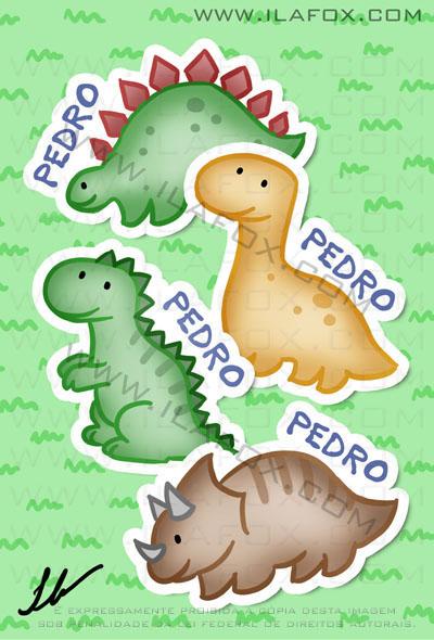 Lembrancinha infantil dinossauros, estegossauro, braquiossaurio, tiranosauro rex, triceratops imãs, by ila fox