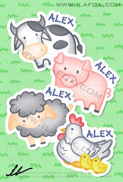 Lembrancinha infantil fazendinha, boi, porco, ovelha, galinha com pintinhos, imãs, by ila fox