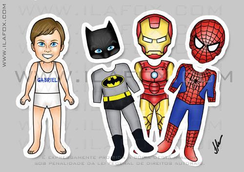 Lembrancinha original, imã, esta infantil, lembrancinha de trocar roupinha, Homem Aranha, Spider Man, Batman, Iron Man, Homem de Ferro, by ila fox