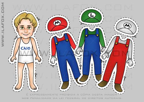 lembrancinha imã, original, festa infantil, temática Super Mario Bros, Mario, Luigi e Super Mario by ila fox