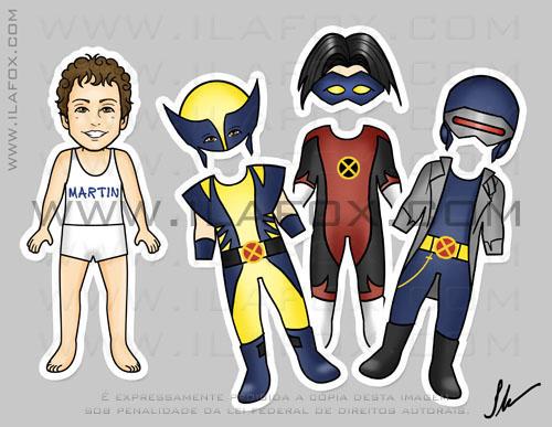 Lembrancinha original imã, meninos, X-men Wolverine, Noturno e Ciclope, by ila fox