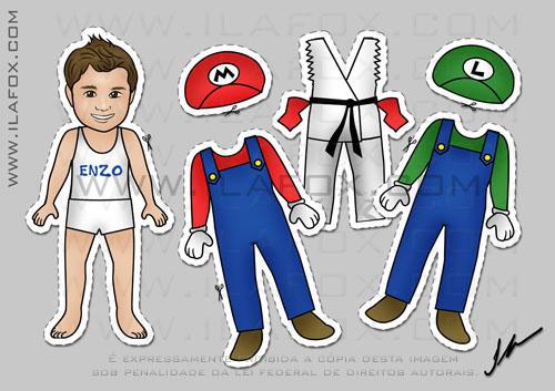 lembrancinha festa infantil de recortar roupinhas para meninos, super mario, luigi e ryu do street fighter