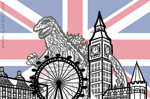 london, londres, godzila, hello goodbye, nonsense, ilustração by ila fox