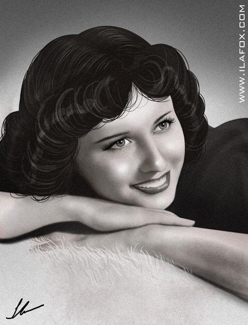 Retrato, preto e branco, diva de cinema, dias das mães, presente original dia das mães, ilustração by ila fox