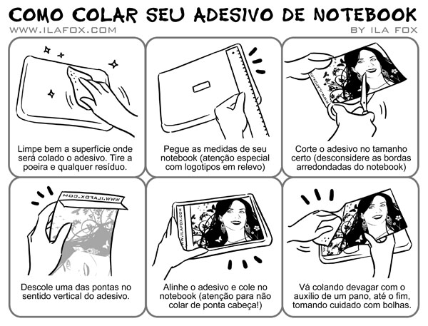 manual tutorial como colar seu adesivo de notebook by ila fox