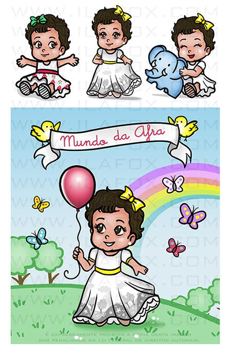 caricatura fofinha, caricatura infantil, caricatura bebê, caricatura festinha, caricatura fofa, elefante, elefantinho, arco-íris, by ila fox