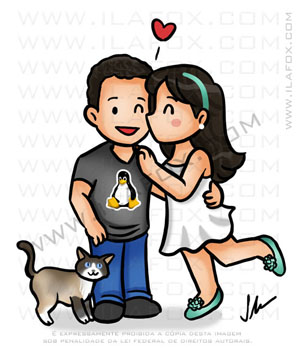 caricatura fofinha, caricatura simples, caricatura casal, by ila fox