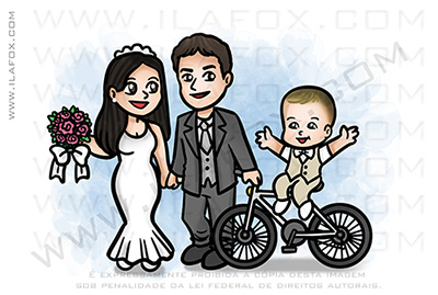 caricatura família, caricatura bicicleta, caricatura casamento, caricatura batizado, by ila fox