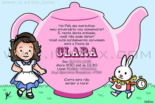 convite personalizado, convite divertido, convite alice país das maravilhas, convite fofo, by ila fox