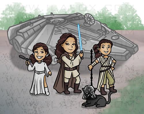 caricatura familia, caricatura star wars, caricatura fofinha, caricatura divertida, millenium falcon, by ila fox