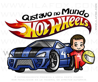 caricatura infantil, caricatura criança, hot wheels, by ila fox