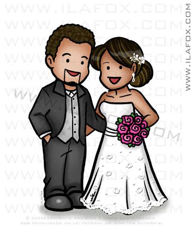 caricatura fofinha, caricatura simples, caricatura pequena, caricatura para lembrancinhas, noivos morenos, by ila fox