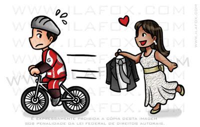 caricatura fofinha, caricatura divertida, caricatura na bicicleta, caricatura noivo fugindo, by ila fox