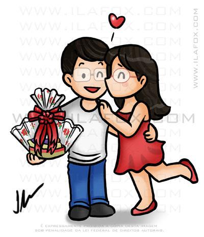 caricatura fofinha, caricatura casal namorado beijando, ilustração by ila fox