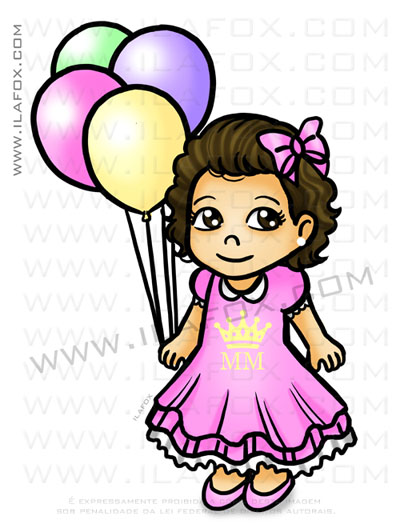 caricatura fofinha, caricatura simples, caricatura menina com balões, princesa, by ila fox, by ila fox