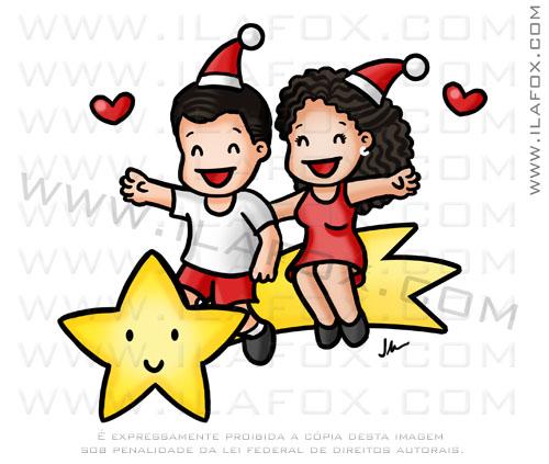 Caricatura fofinha, casaricatura casal na estrela cadente, estrela cadente, natal, by ila fox