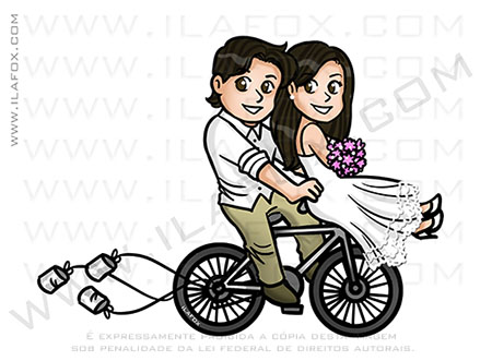 caricatura casal, caricatura fofinha, caricatura noivos bicicleta, caricatura delicada, by ila fox