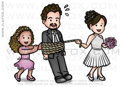 caricatura fofinha, caricatura divertida, caricatura família, caricatura noivo amarrado, noivo arrastado, by ila fox