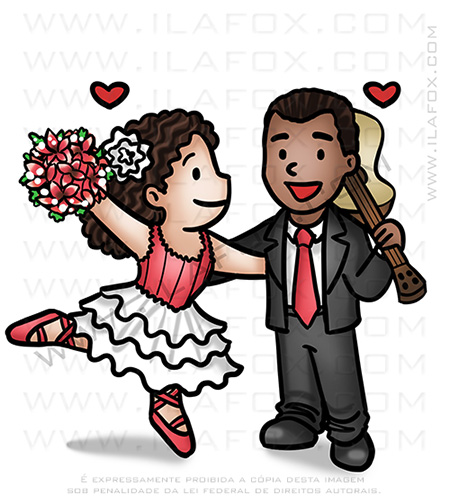 caricatura fofinha, caricatura casal, caricatura bailarina, caricatura músico, by ila fox