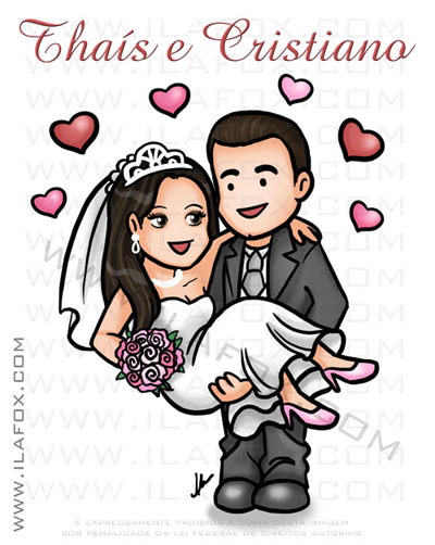 caricatura fofinha, caricatura divertida, noiva puxando pela gravata, by ila fox