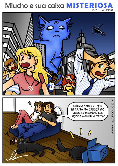 miucho gato gigante ataca cidade dentro da caixa quadrinhos by ila fox