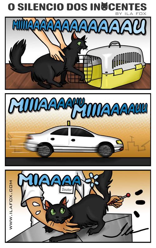 quadrinhos miucho vai ao veterinário, miau, by ila fox
