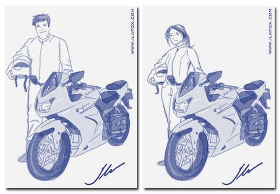ilustração de moto potente com homem e mulher by ila fox