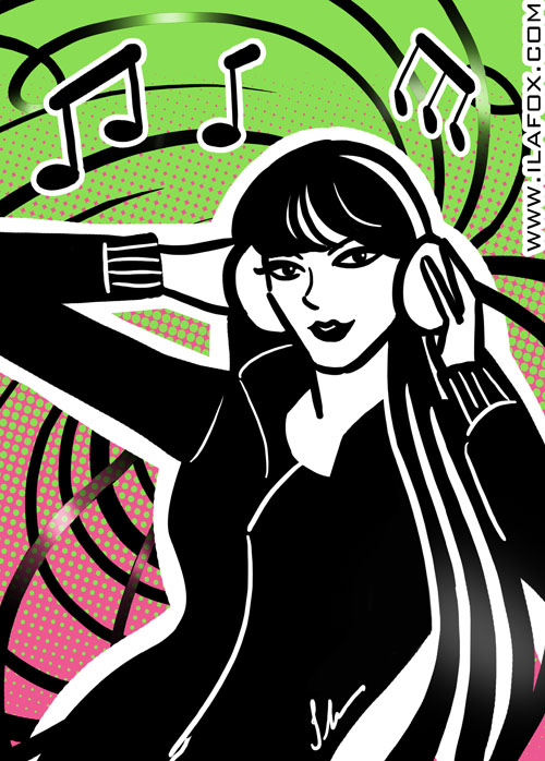 Mulher DJ escutando música no fone de ouvido, dicas para ilustradores, ilustração by ila fox