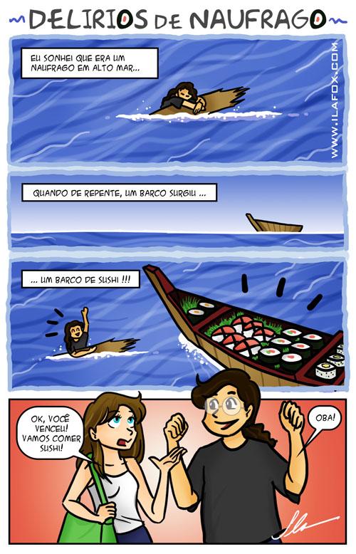 quadrinhos náufrago em alto mar tendo delírios de sushi by ila fox