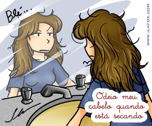 odeio meu cabelo enquanto está secando by ila fox - ilustração