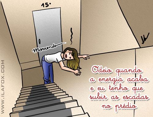 Odeio subir escadas quando a energia do prédio acaba, ilustração by ila fox