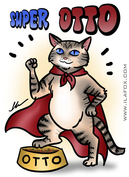 O Super Gato Herói Otto que doou sangue para Bijoux da Telinha, ilustração by ila fox