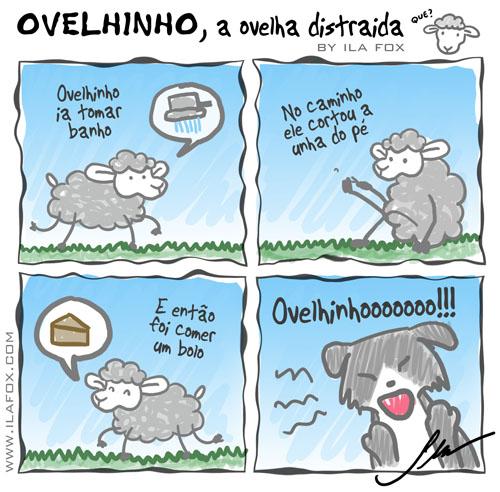 carneiro ovelha, ovelhinho a ovelha distraída vai tomar banho - quadrinhos by ila fox