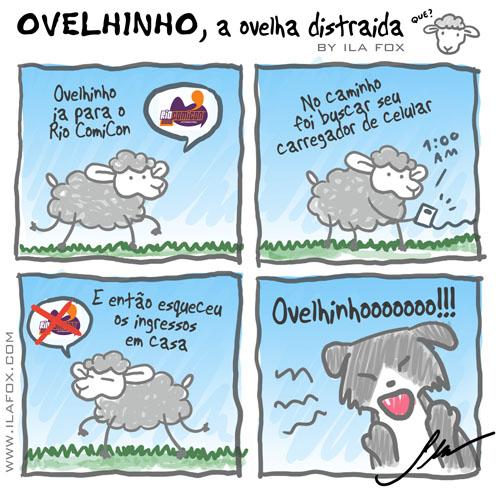 carneiro ovelha, ovelhinho a ovelha distraída vai na Rio ComiCon - quadrinhos by ila fox