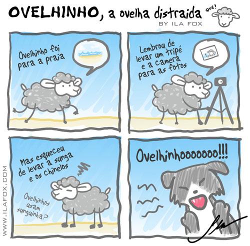 carneiro ovelha ovelhinho a ovelha distraída foi para a praia, quadrinhos by Ila Fox