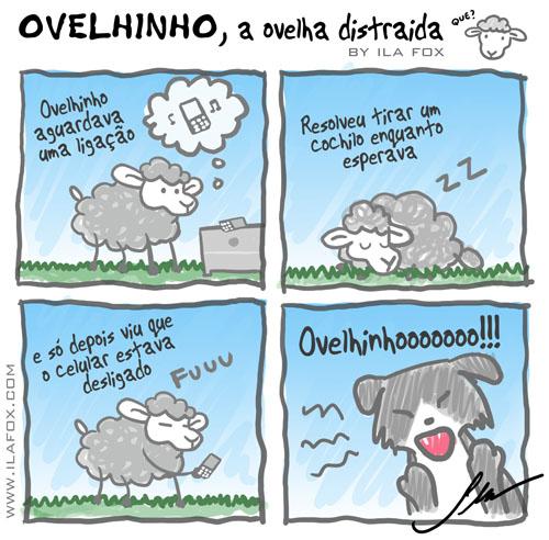 ovelhinho, a ovelha distraída esperava uma ligação, quadrinhos by ila fox
