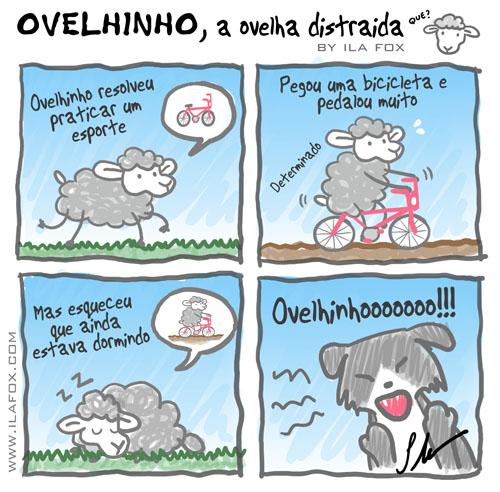 Ovelhinho a ovelha distraída anda de bicicleta, quadrinhos by ila fox