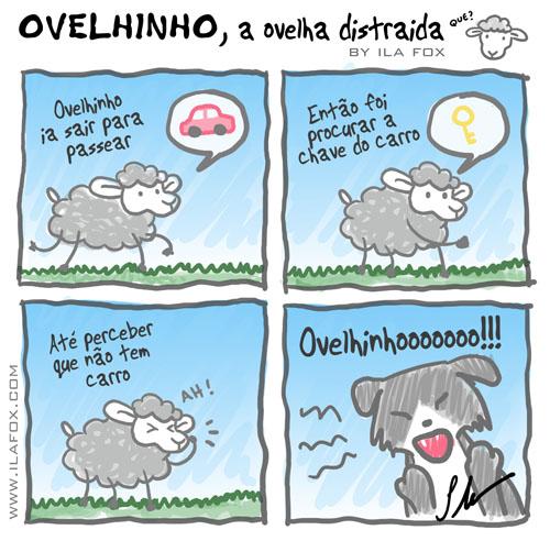 Ovelhinho, a ovelha distraída estava procurando a chave do carro, quadrinhos by ila fox