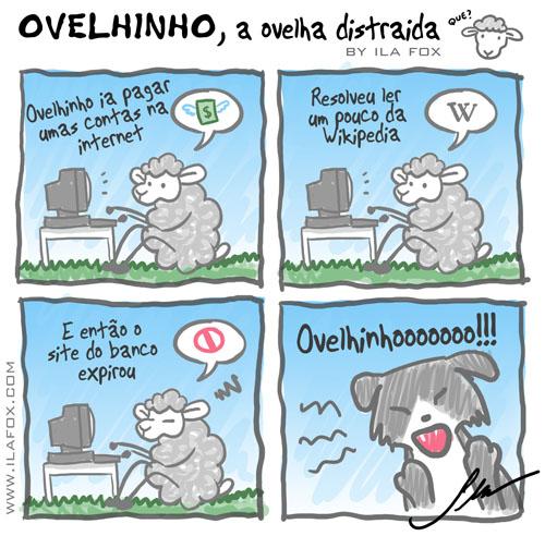 Ovelhinho, a Ovelha Distraída, site expirado, quando site expira, quadrinhos by ila fox